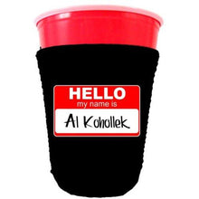 Load image into Gallery viewer, black party cup koozie with hello my name is al kohollek