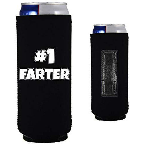 magnetic slim can koozie with number one farter funny design