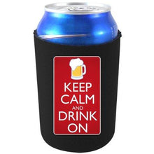 "Load image into Gallery viewer, black can koozie with ""keep calm and drink on"" text and beer mug design"
