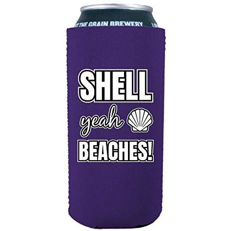 16 oz can koozie with shell yeah beach design