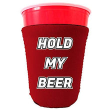 Load image into Gallery viewer, red party cup koozie with hold my beer design