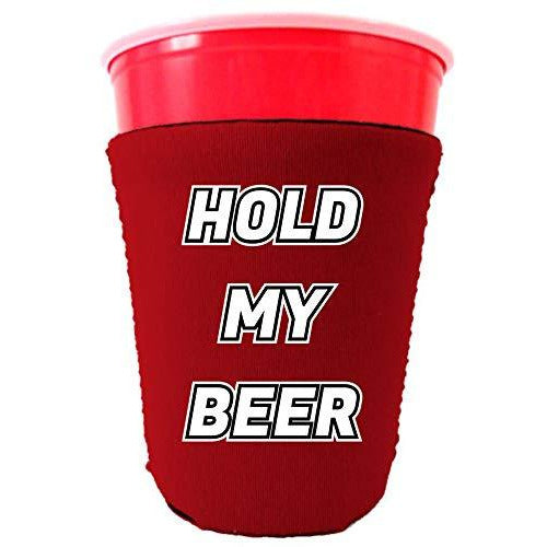 red party cup koozie with hold my beer design