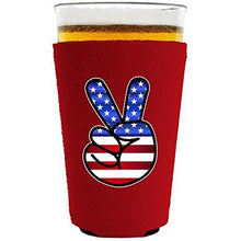 Load image into Gallery viewer, America Peace Sign Pint Glass Coolie