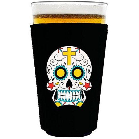 pint glass koozie with sugar skull design