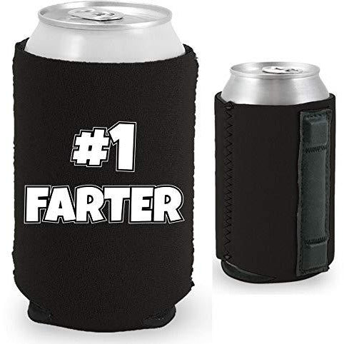 Magnetic can koozie with number one farter funny design