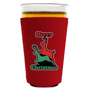 Reindeer Christmas Pint Glass Coolie