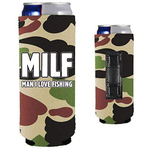 camo magnetic slim can koozie with MILF man i love fishing funny text design