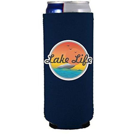 slim can koozie with lake life design