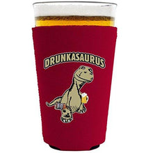 Load image into Gallery viewer, pint glass koozie with drunkasurus design