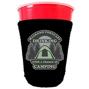 black party cup koozie with weekend forecast drinking with a chance of camping design