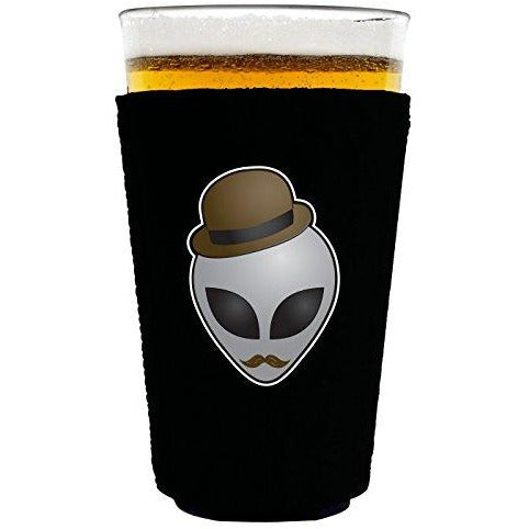 pint glass koozie with alien design