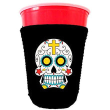 Load image into Gallery viewer, black party cup koozie with sugar skull design