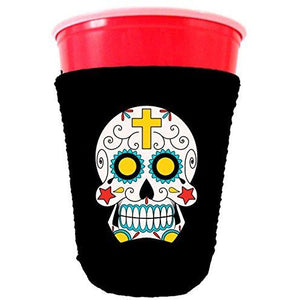 black party cup koozie with sugar skull design