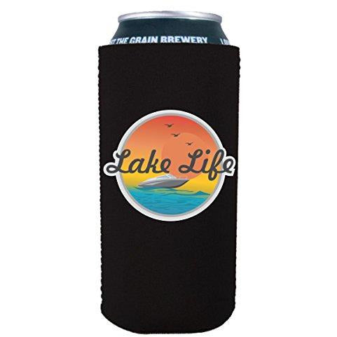 16 oz can koozie with lake life design