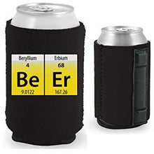 Load image into Gallery viewer, black magnetic can koozie with funny beer elements design