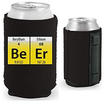 black magnetic can koozie with funny beer elements design