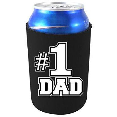 black can koozie with #1 dad design text