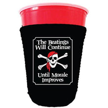 Load image into Gallery viewer, black party cup koozie with the beatings will continue until morale improves design