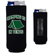 Load image into Gallery viewer, black magnetic slim can koozie with funny camping is in tents design