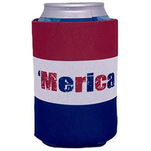 "Load image into Gallery viewer, can koozie with full color red white and blue ""merica"" word and stripes background"