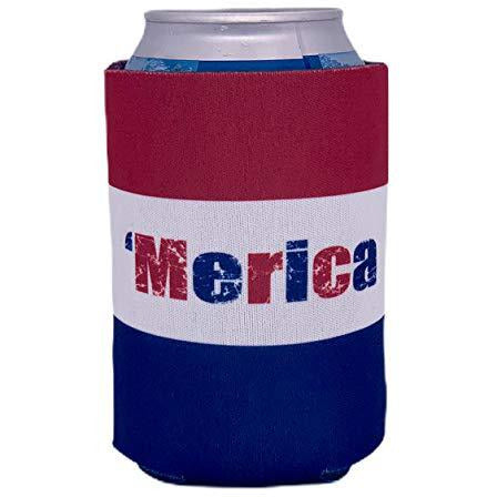 can koozie with full color red white and blue