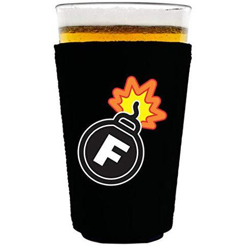 black pint glass coolie with f bomb funny design