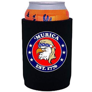 "black thick neoprene can koozie with ""'Murica 1776"" logo and bald eagle mullet funny design"