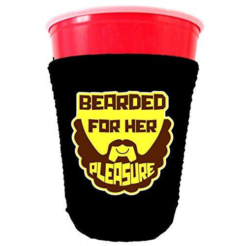 black party cup koozie with bearded for her pleasure design