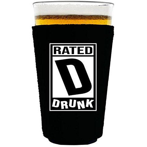 pint glass koozie with rated d design