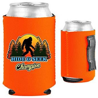 orange magnetic can koozie with bigfoot hide and seek champion funny design