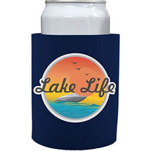 Load image into Gallery viewer, navy old school thick foam koozie with lake life design