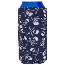 Load image into Gallery viewer, 16 oz can koozie with pirate skull and bones pattern design