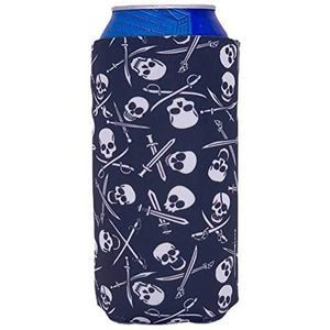 16 oz can koozie with pirate skull and bones pattern design