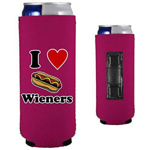 I Love Wieners Magnetic Slim Can Coolie