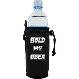 "black  water bottle koozie with ""hold my beer"" funny text design"