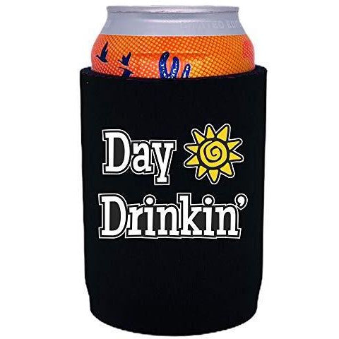 "black thick neoprene koozie with ""day drinkin"" funny text design"