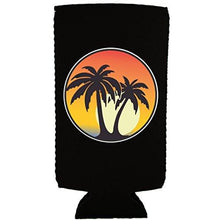 Load image into Gallery viewer, Palm Tree Sunset Slim Can Coolie