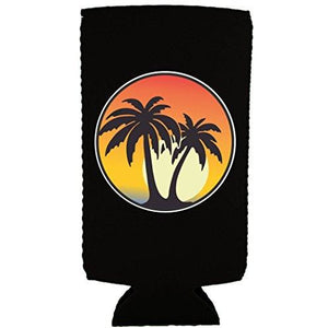 Palm Tree Sunset Slim Can Coolie