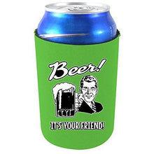 "Load image into Gallery viewer, neon green can koozie with ""beer, it's your friend"" text and 50's retro guy holding beer mug design"