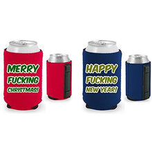 Load image into Gallery viewer, navy and red magnetic can koozies with merry fucking christmas and happy fucking new year text designs