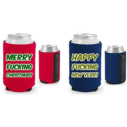 navy and red magnetic can koozies with merry fucking christmas and happy fucking new year text designs