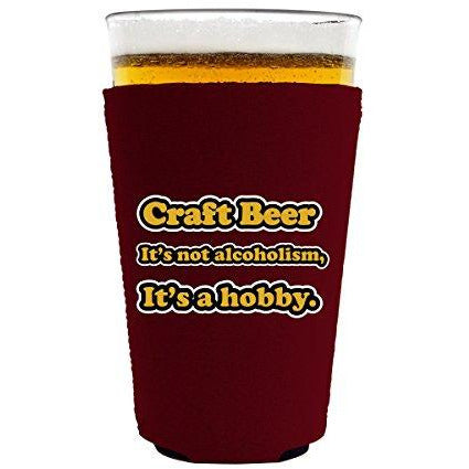 pint glass koozie with craft beer design