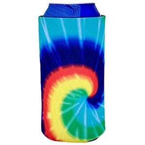 16 oz can koozie with tie dye pattern design