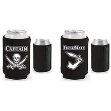 Load image into Gallery viewer, black magnetic can koozies with captain and first mate designs