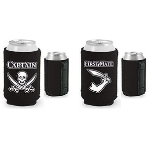black magnetic can koozies with captain and first mate designs