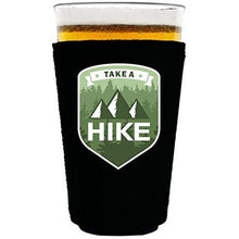 Load image into Gallery viewer, pint glass koozie with take a hike design
