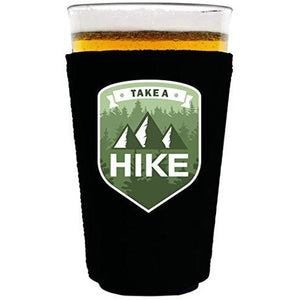 pint glass koozie with take a hike design
