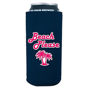 16oz can koozie with beach please funny design