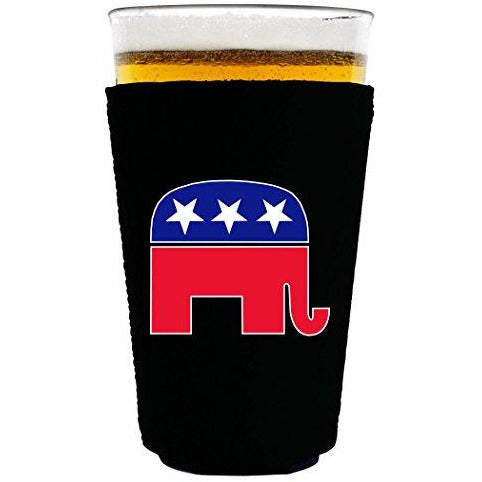 pint glass koozie with republican party elephant design