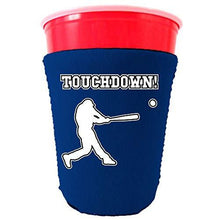 Load image into Gallery viewer, royal blue party cup koozie with touchdown design